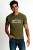 (No Branch) Vet Tix Heathered Military Green Short Sleeve Shirt with blank back