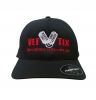 Vet Tix DELTA FITTED Cap - Black Cap with Red Vet Tix (No Branch)